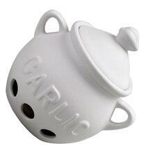 Алим Лидер продаж HIC зубчик чеснока хранитель, вентилируемые Керамика контейнер для хранения с крышкой, белый
