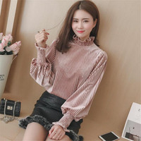 Autumn Winter Gold Velvet Tops Women S Shirts Blouses 2017 Long Sleeve Casual Woman O Neck