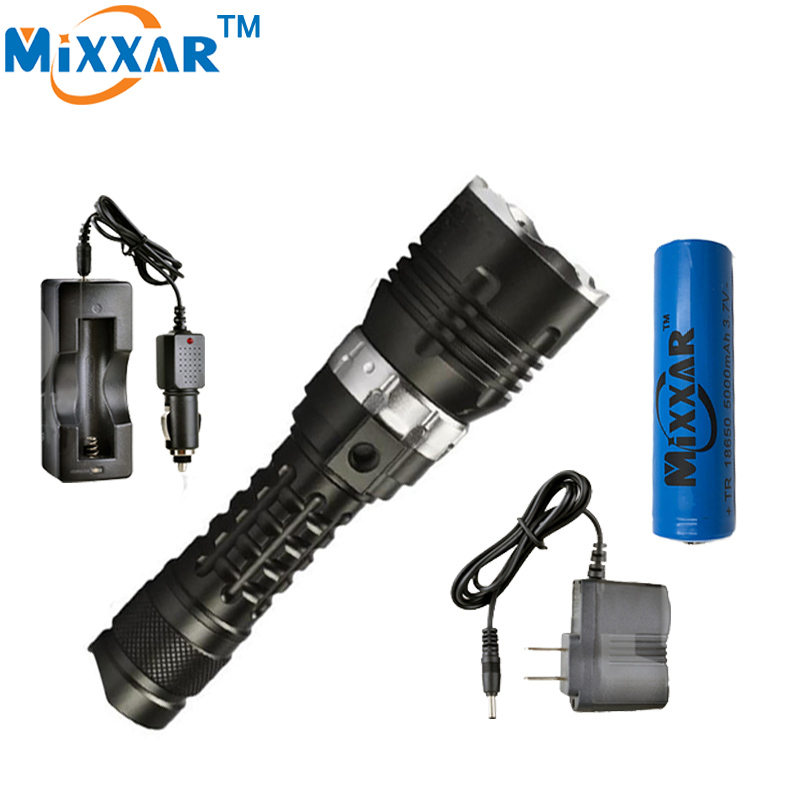 ФОТО zk30 5000LM CREE XM-l2 LED Waterproof underwater Diving Flashlight Dive Torch lamp 120m lamp for diving lantern for18650 battery
