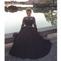 Graduation Dresses Crop Top Black Lace Two Piece Illusion Long Sleeve Homecoming Dresses Factory Real Photo