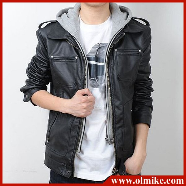 New Men's Slim PU hoody leather jacket coat removable Hooded ...