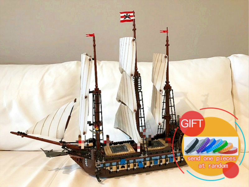 22001 1717pcs Pirate Ship Imperial warships set Compatible with 10210 Model Building Block Kits Bricks Toys lepin lepin 22001 pirates series the imperial war ship model building kits blocks bricks toys gifts for kids 1717pcs compatible 10210