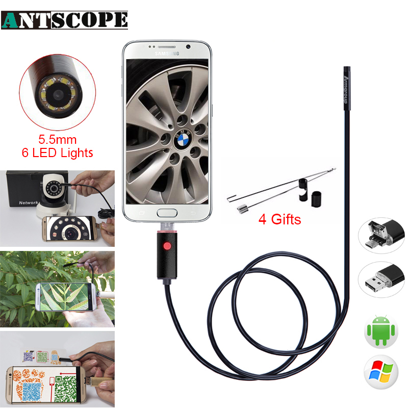Antscope 10M 7mm/5.5mm/8mm Android and USB endoscope camera 6LED Borescope Inspection Camera for PC Inspection Endoscopic 30