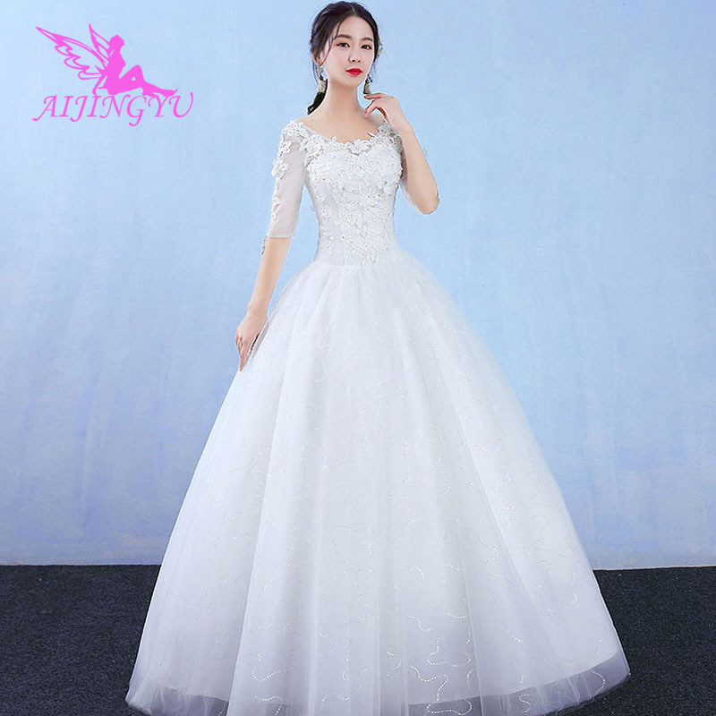 AIJINGYU 2018 Custom Made Free Shipping New Hot Selling Cheap Ball Gown Lace Up Back Formal Bride Dresses Wedding Dress WK785