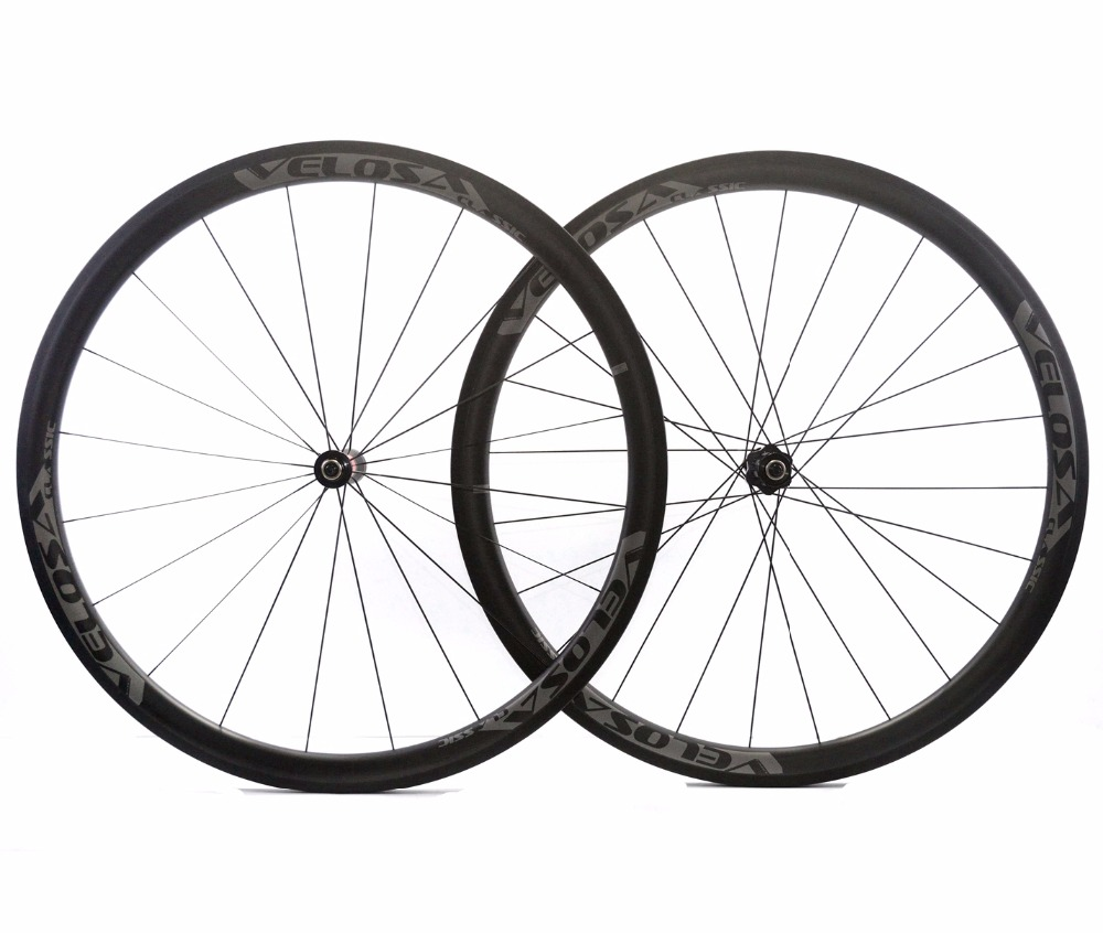 VELOSA! 700C 38mm depth road carbon wheels 25mm width Clincher bicycle carbon wheelset with R36 ceramic hub sapim cx-ray spoke