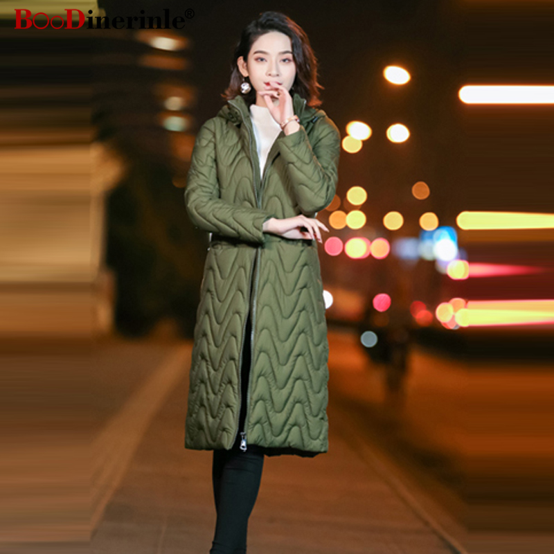Autumn Women's Down Cotton Coat 2018 New Female Simple Office Wearing Long Cotton Jacket Winter Thicken Warm Outwear   Parka   MY307