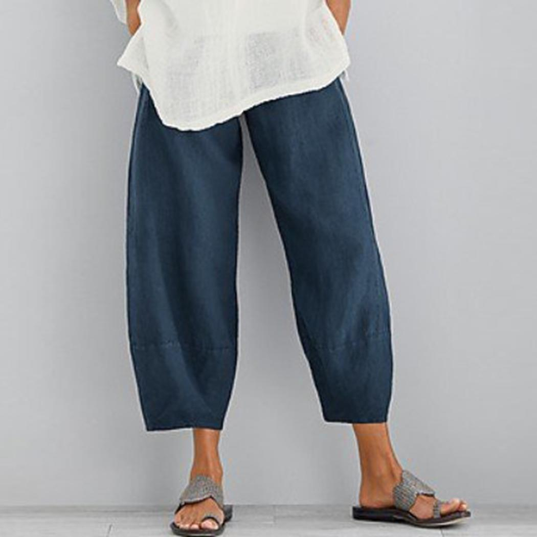 Women Solid Casual Pants Elastic Waist Calf-Length Summer Loose Cotton Trouser With Pockets