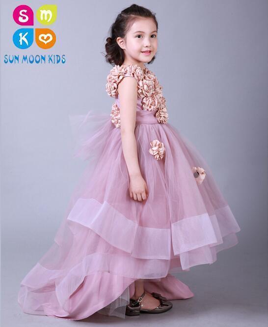 Здесь можно купить  Appliques Flower Girls Dresses For Weddings Baby Party Frocks Children Images Dress Kids Prom Dresses Trailing Evening Gowns  Детские товары