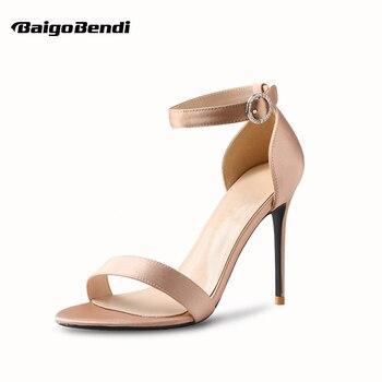 Ladies Peep Toe Buckle Belt Silk Sandals Woman Sexy Thin Heel Small Size Elegant Sandals  OL Trendy Summer Shoes