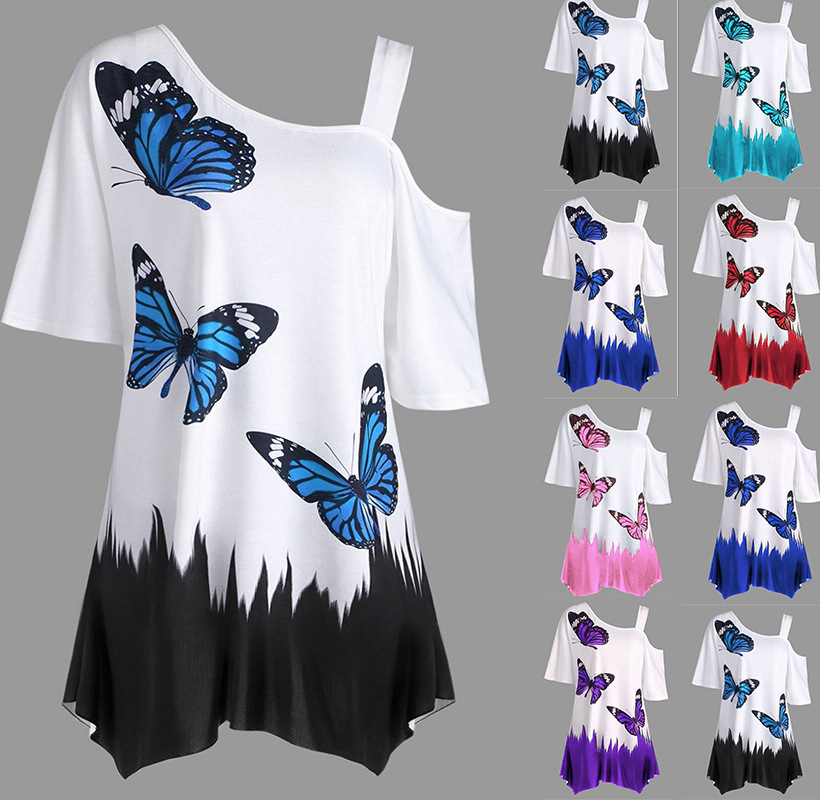 Large Size Summer Ladies Casual T Shirt 2019 New Cut Out Half Sleeve butterfly Print Loose Tops T Shirt Plus Size Women Clothing