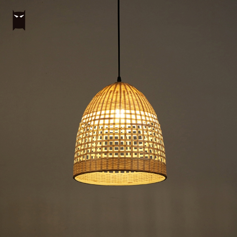 Us 185 0 New Bamboo Wicker Rattan Basket Shade Pendant Light Fixture Rustic Vintage Art Deco Hanging Ceiling Lamp Plafon For Dining Room In