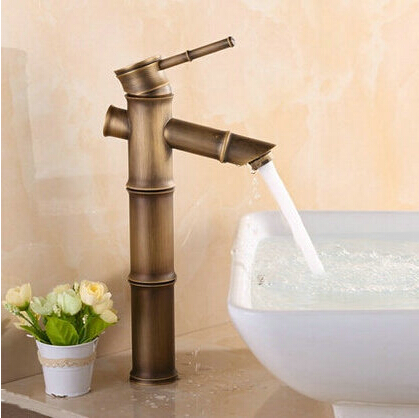 Bamboo shape faucet Basin Mixer Taps Antique Brass Finished Hot and Cold Mixer Taps Deck Mounted  basin tap torneira AF1034Bamboo shape faucet Basin Mixer Taps Antique Brass Finished Hot and Cold Mixer Taps Deck Mounted  basin tap torneira AF1034
