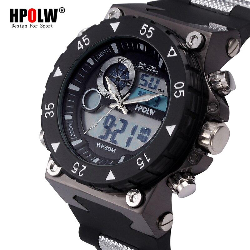 Men Fashion Sport Shock Watches Luxury Brand HPOLW Men's Quartz Digital Analog Clock Man Wrist Watch relogio masculino Stopwatch hpolw mens серебро