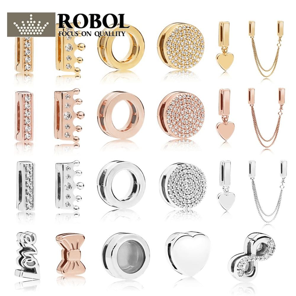 ROBOL 100% 925 Silver Reflexions Clip Charm In Shine With Clear Cubic Zirconia Fit DIY Original 1:1  Bracelet Jewelry DazzlingROBOL 100% 925 Silver Reflexions Clip Charm In Shine With Clear Cubic Zirconia Fit DIY Original 1:1  Bracelet Jewelry Dazzling