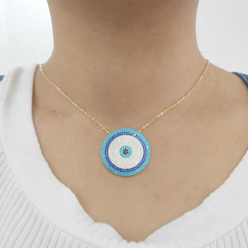 GOLD SILVER color dainty disco necklace blue crystal lucky eyes turkey jewelry  big round micro pave necklace girls charm jewely