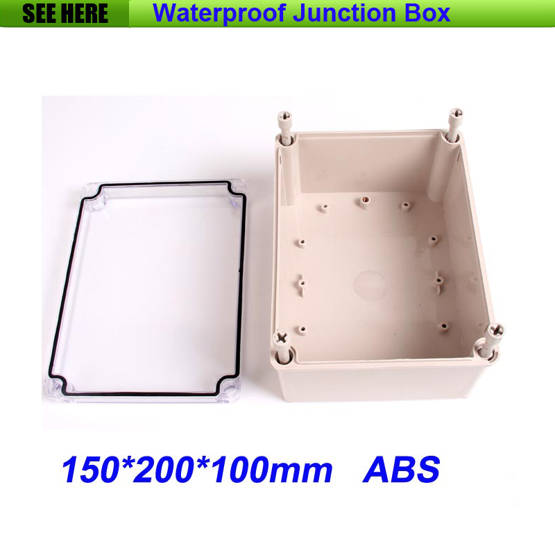 все цены на Free Shipping Good Quality ABS Material Transparent Cover IP66 waterproof plastic box with wall 150*200*100mm