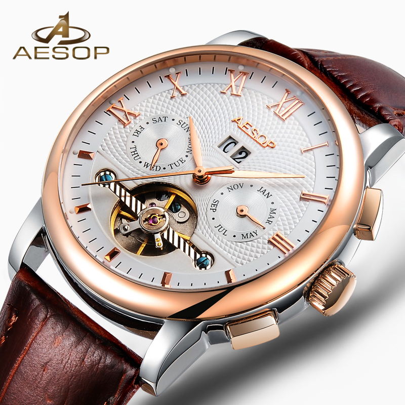 AESOP Dress Watch Men Automatic Mechanical Hollow Wristwatch Rose Gold Male Clock Leather Strap Male Clock Relogio Masculino 40 royal carving ks rose gold skeleton automatic self wind wristwatch male fashion clock leather strap mechanical watch gift ks294