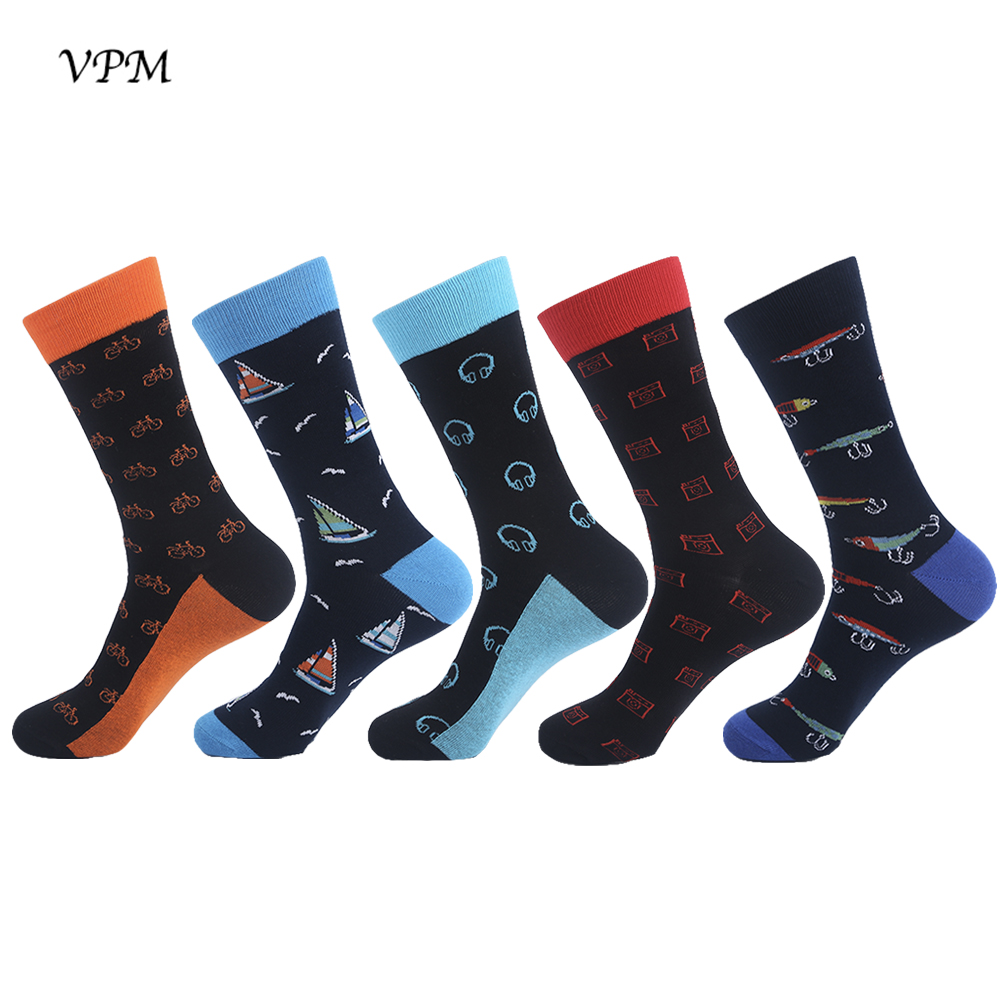 VPM Colorful Mens Crew Socks Funny Pattern Cartoon Harajuku Happy Socks Wedding Business Gift 5 Pairs/Lot