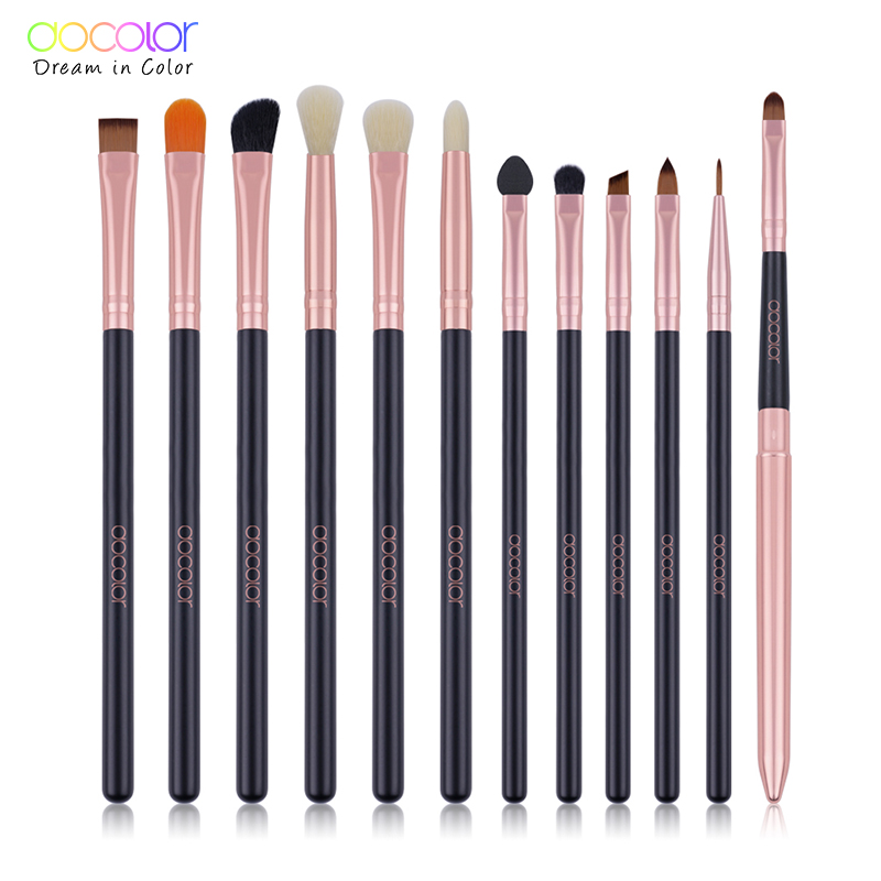 Docolor 12pcs Eyeshadow Makeup Brushes Set Pro Rose Gold Eye Shadow Blending Make Up Brushes Soft Synthetic Hair For Beauty docolor makeup brushes 12pcs make up brush set powder contour eyeshadow eye shadow brushes soft synthetic hair brush kit