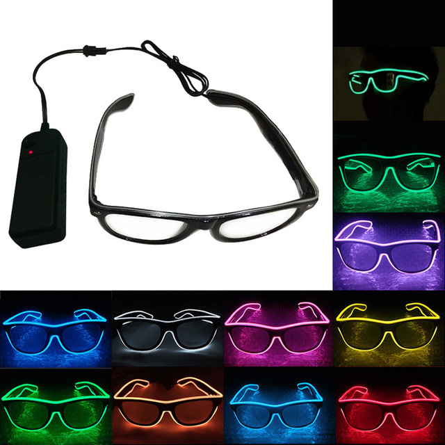Fashion LED EL Wire Glasses Luminous Neon Light Up Glow Eyewear ...