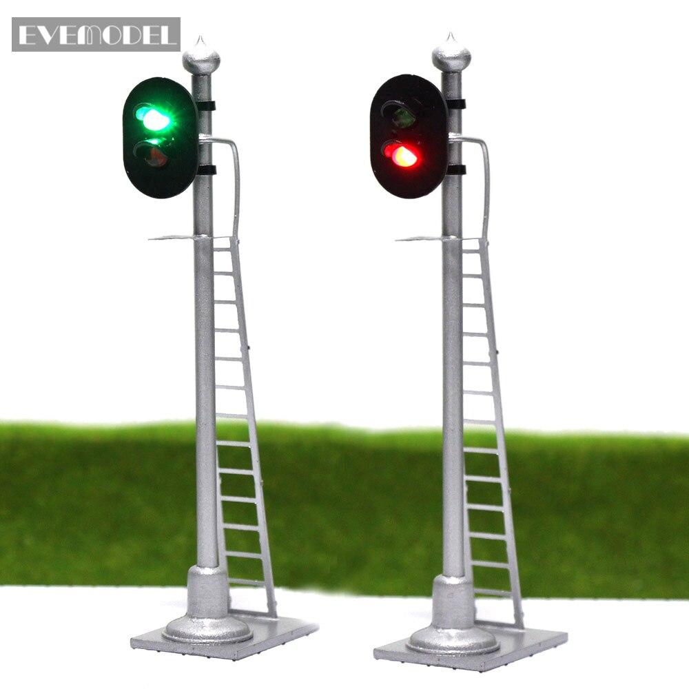 3pcs Model Railway Traffic Signals Red Green Block Signal HO Scale 6cm Traffic Light with Ladder JTD873GR