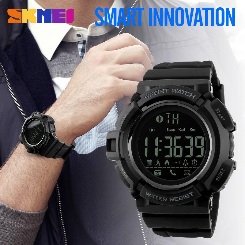 Prix pour SKMEI Bluetooth Smart Watch Hommes Montres de Sport Podomètre Calories Chronographe Mode 50 M Étanche Numérique Intelligent Montres