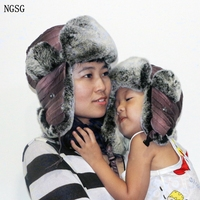 2017 Nieuwe Rabbit Hair Hat Fur Hats For Women Parenting Family Bomber Hats Winter Winddicht Warm Ski Cap Protect The Ears