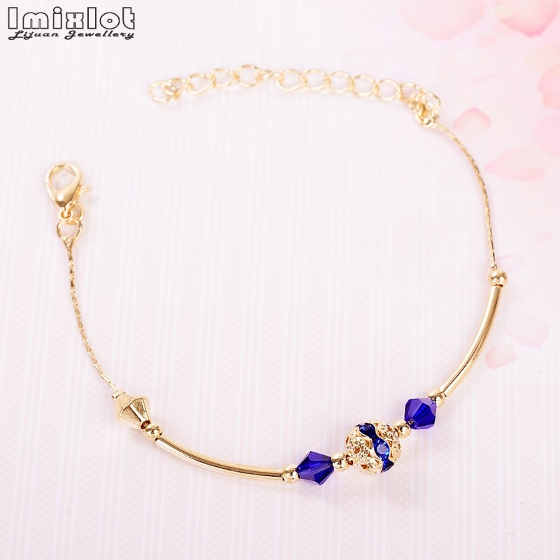 2017 New Fashion Gold Color Charm Bracelet For Women Beaded Bracelet Crystal Beads DIY Jewelry Wholesale