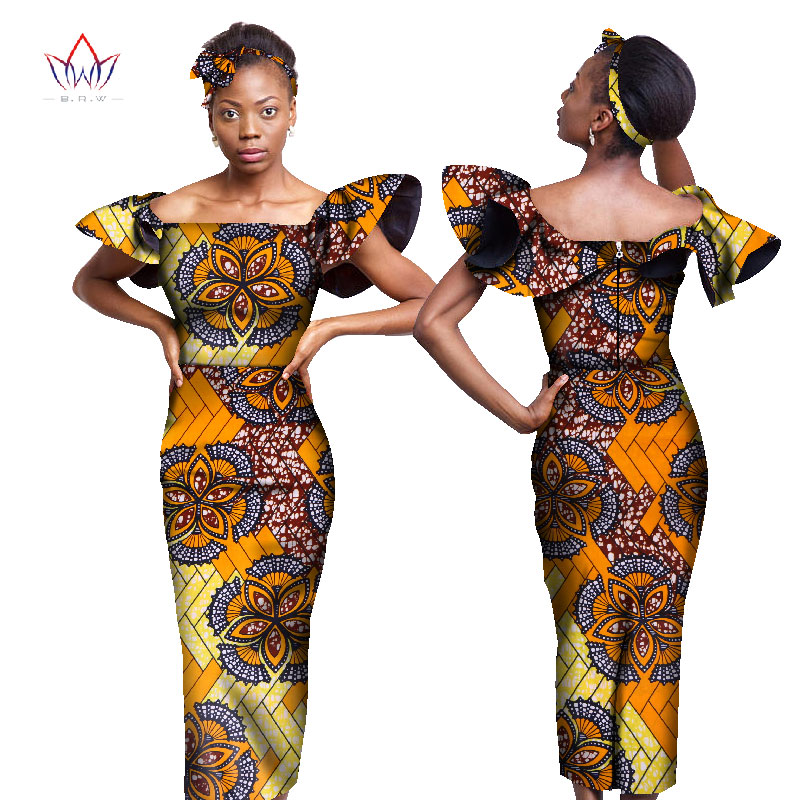 0d699ce44f3a 2018 african styles clothing Women Riche Bazin Straight 100% Cotton  Material Free shipping Lady Long Dress Maxi Size WY2993