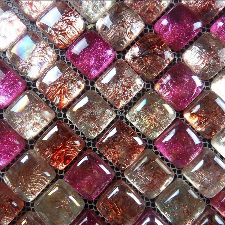 Red Pink Sea Pearl Bead Crystal Glass Mosaic Tiles For Bathroom Home Improvement Kitchen Backsplash Hmgm1058
