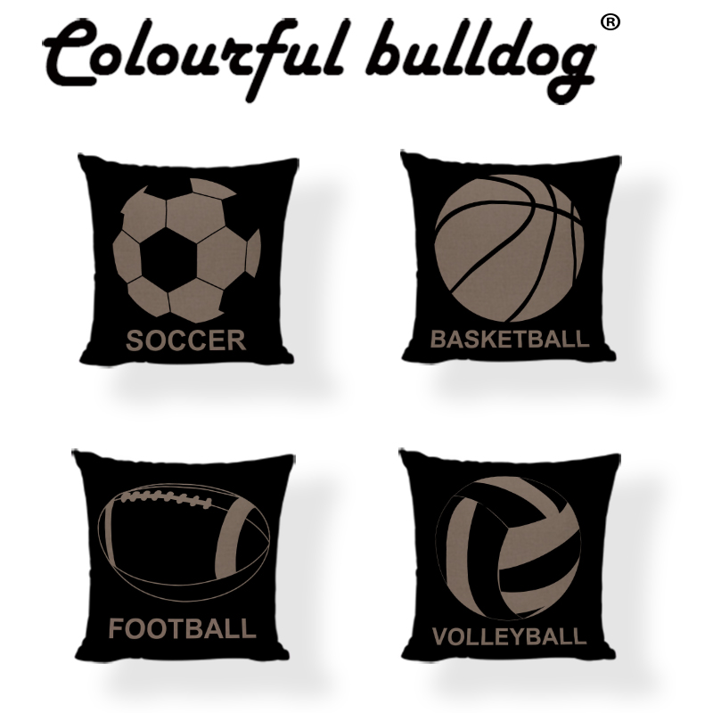 Cushion Cover 43*43 cm Soccer Basketball Baseball Volleyball Tennis Sports Equipment Gymnasium Lounge Seat Decoration Pillowcase