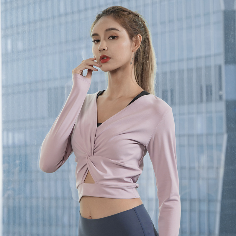 women yoga shirts elastic quickly dry V neck sweatshirts yoga crop top running jogger casual fitness workout shirts activewear