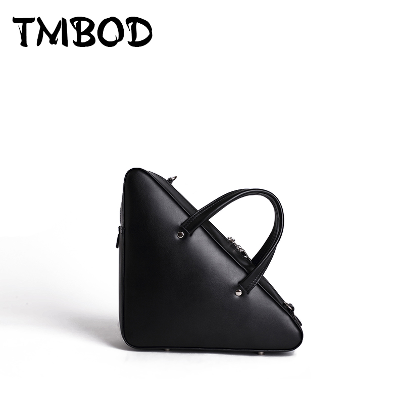 Фотография New 2018 Design Women Fashion Triangle Shape Tote Messenger Bag Split Leather Handbags Lady Crossbody Bags For Female an870