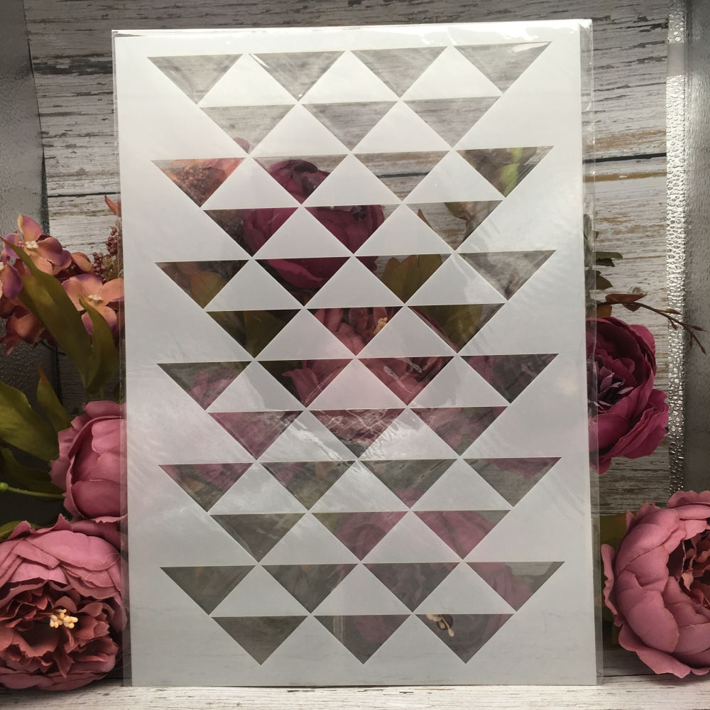 A4 29cm Tri Angle Geometry Texture DIY Layering Stencils Painting Scrapbook Coloring Embossing Album Decorative Card Template