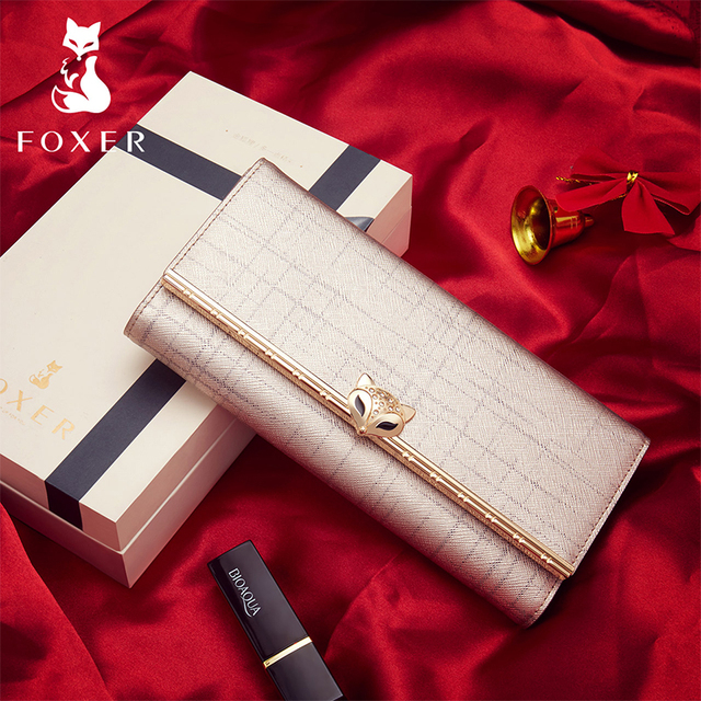 FOXER Brand Women's Cow Leather Long Wallets Female Fashion Credit Card Holder Lady Luxury Clutch Bag Coin Purse for Women
