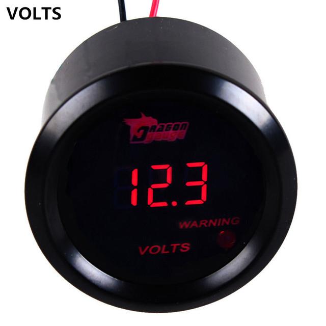 "Apoyo EE 2 ""52mm Negro Shell LED Rojo Volt Tensión Gauge Auto Car Voltímetro Digital Relojes Relojes XY01"
