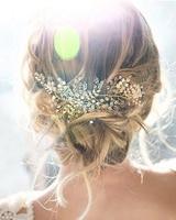SWEETV Bohemian Gold Leaf Hair Vine Band Handmade Bead Rhinestone Wedding Headband Tiara Bridal Hair Accessories