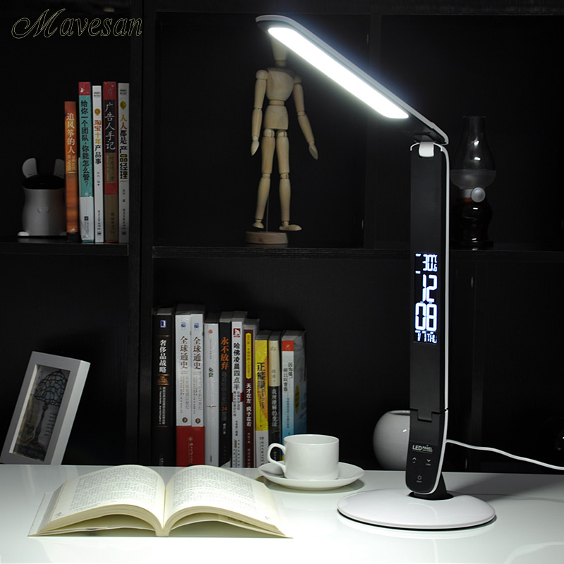 Folding LED table lamp Rechargeable Led Desk Lamp Eye Protection Portable LED Light With Calendar Alarm Colck digital eye protect portable led reading lamp dimmable touch led table lamp led rechargeable desk lamp with calendar alarm colck