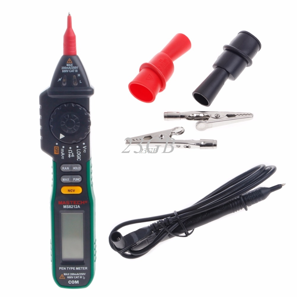 Pen Digital Multimeter MS8212A Voltage Current Tester Diode Logic Non-contact MAY19_30 mastech ms8212a multi function pen type digital multimeter auto range logic level continuity diode test non contact tester