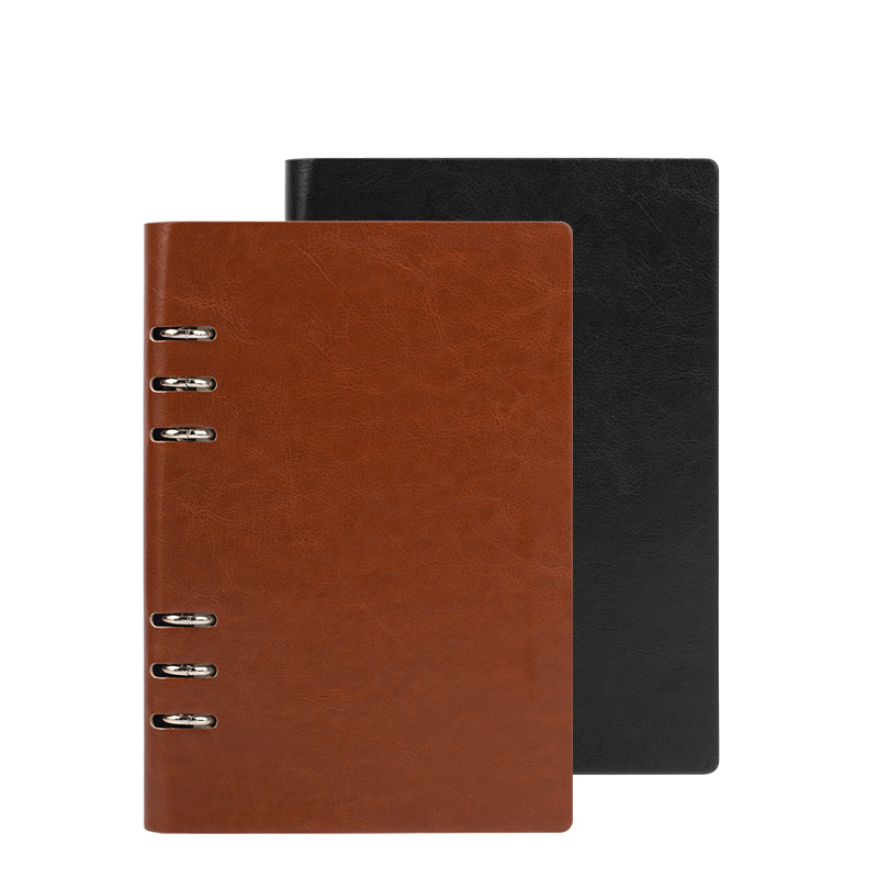 A5 commercial spiral  thickening loose-leaf notepad 6 clip leather notebook stationery diary