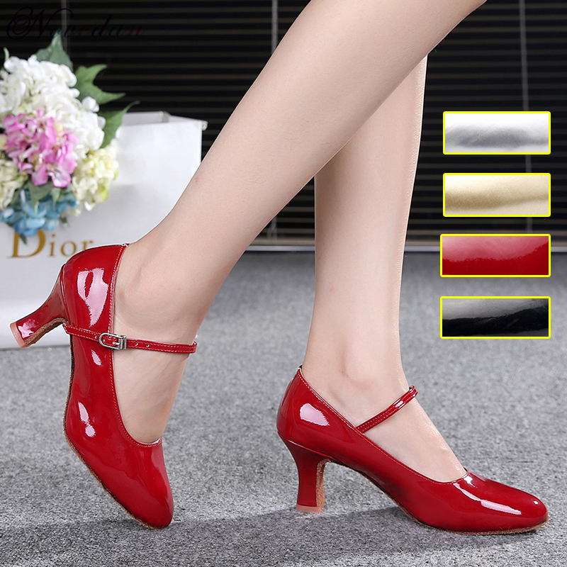 Patent Leather Shiny Closed Toe Salsa Shoes Black Gold Silver Red Ballroom Tango Latin Dance Shoes For Women 5cm/7cm Heels