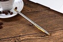 Genkky 1pcs Stainless steel rod rotating Metal ballpoint Pen Stationery Ballpen