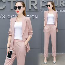 Small suit, 2017 new autumn women's clothing, Korean Fashion Chiffon jacket, long sleeve trousers, two sets