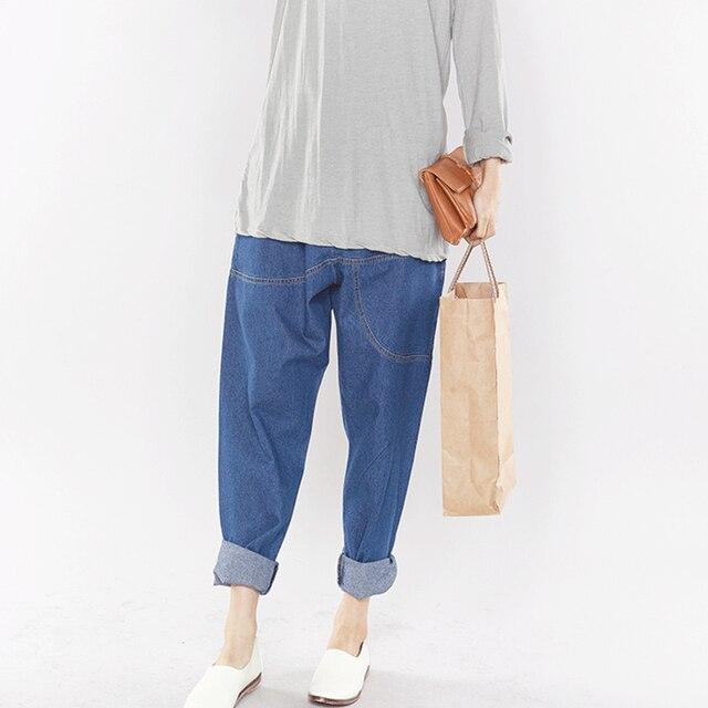 52f3cecc05b Casual High Elastic Waist Plus Size Jeans For Women Denim Boyfriend Jeans  Harem Pants Women Solid