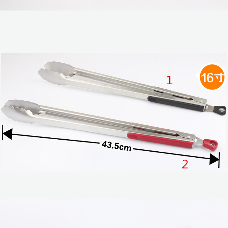 Hot 16 Stainless Steel Food Tongs Long Kitchen Locking Tong Barbecue Tongs Kitchen Tong BBQ Salad Bread Scallop Buffet Cllip