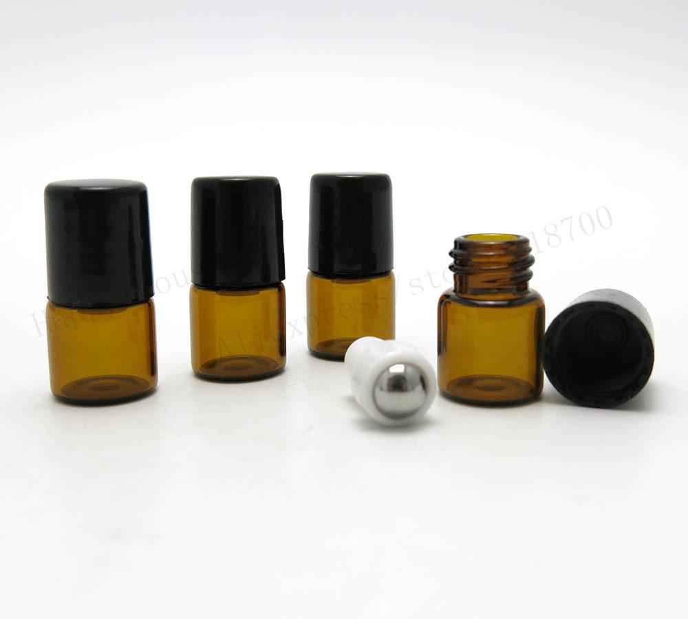 Venda quente 50x1 ml Mini âmbar roll on garrafas de rolos para óleos essenciais, 1cc Roll-on perfume recarregáveis garrafa, recipiente de desodorante