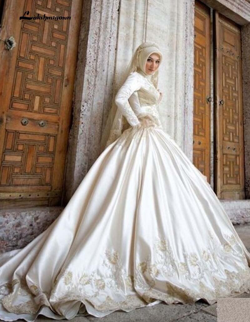 High Neck Long Sleeves Muslim Wedding Dresses Hijab Lebanon Satin ...