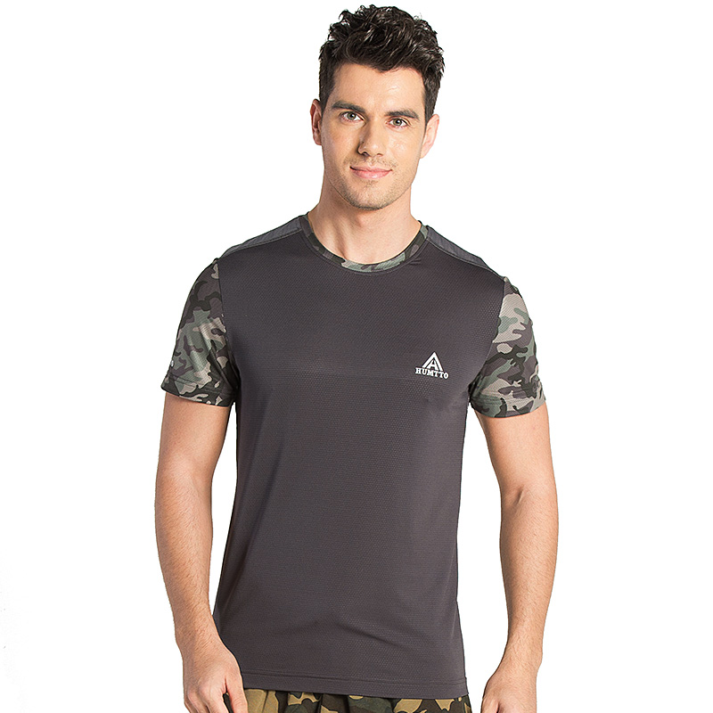 HUMTTO Mens Outdoor Hiking T-shirts Polyester Camouflage T-Shirt Breathable Coolmax Running T shirt O-Neck Thin Quick Dry Tops