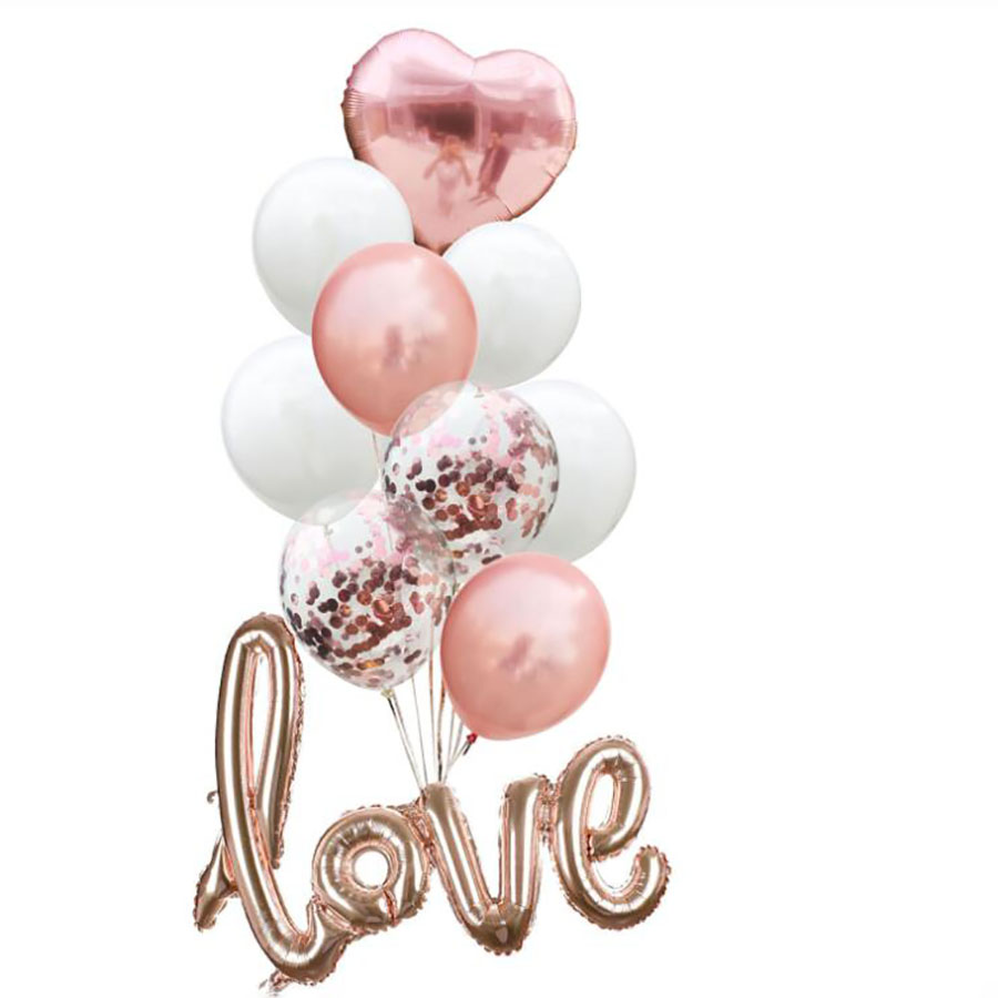 Rose Gold Confetti Heart Foil Balloons LOVE Letter Wedding amp Engagement Party Anniversary Party Decoration Children 39 s Day Supplies in Ballons amp Accessories from Home amp Garden