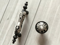3 Ceramic Knob Dresser Knobs Pull Drawer Pulls Handles White Gray Antique Black Kitchen Cabinet Pulls